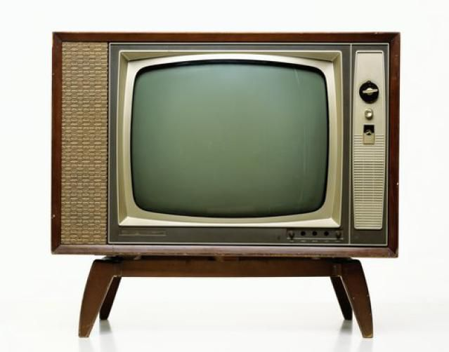 Television set on stand