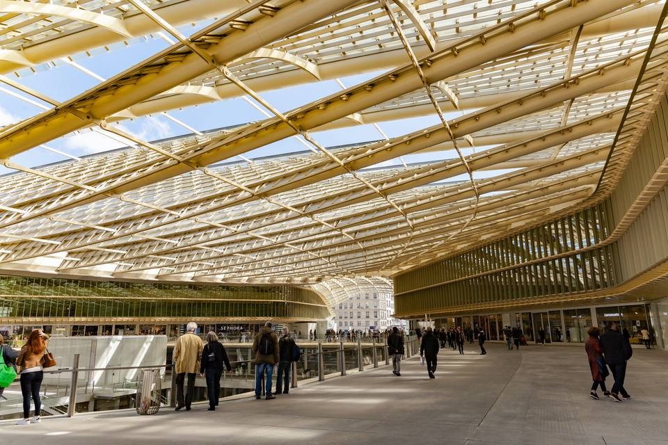 """The recently renovated """"Canopy"""" at the Forum des Halles shopping Centre in Paris."""