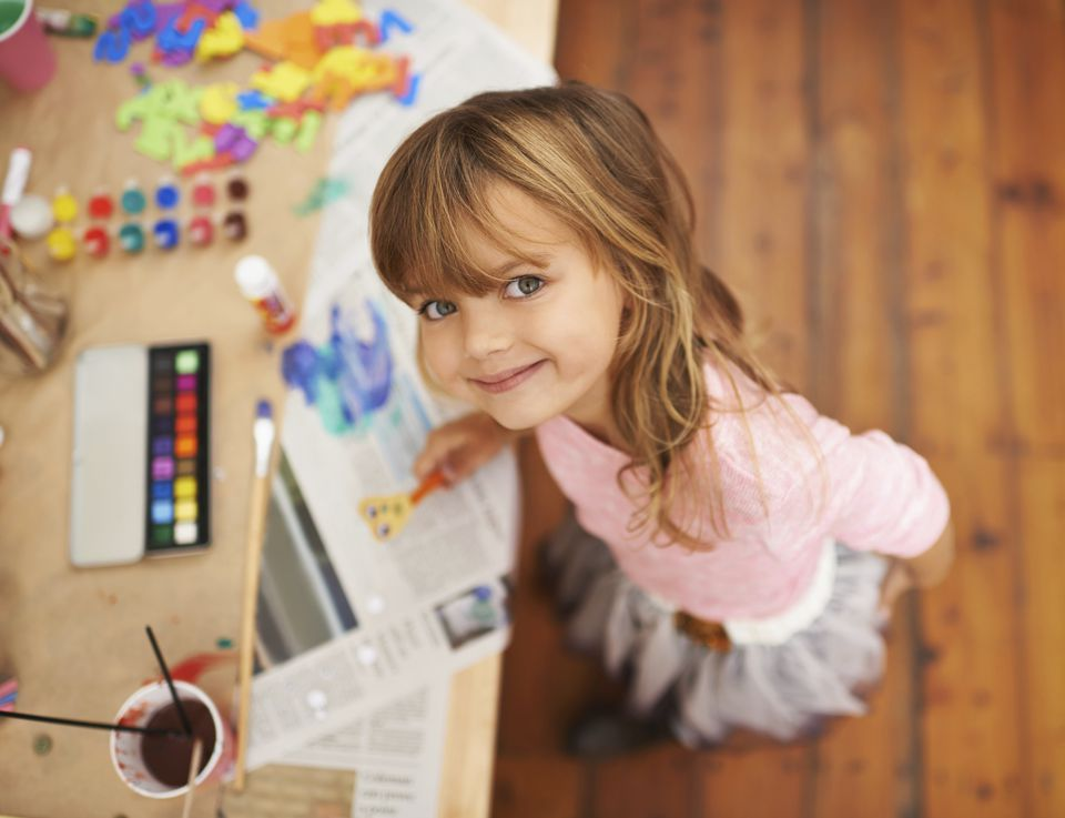 Little girl doing arts and crafts