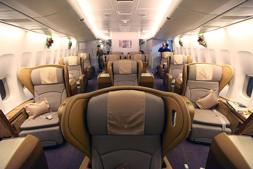 First class cabin on airplane