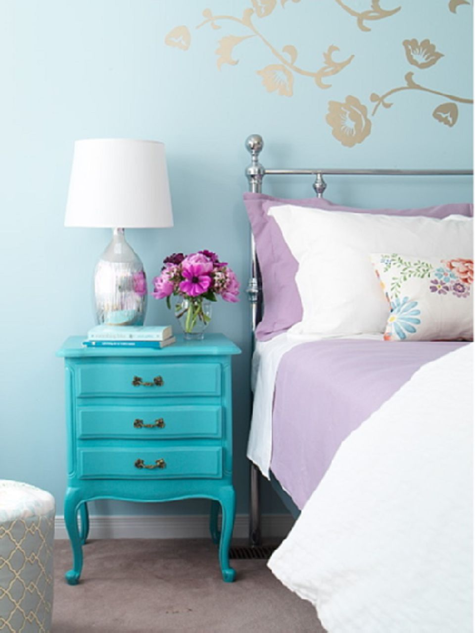 Turquoise painted nightstand