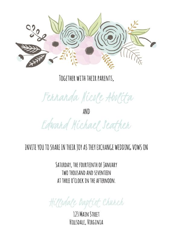 A Floral Wedding Invite Template Cards And Pockets