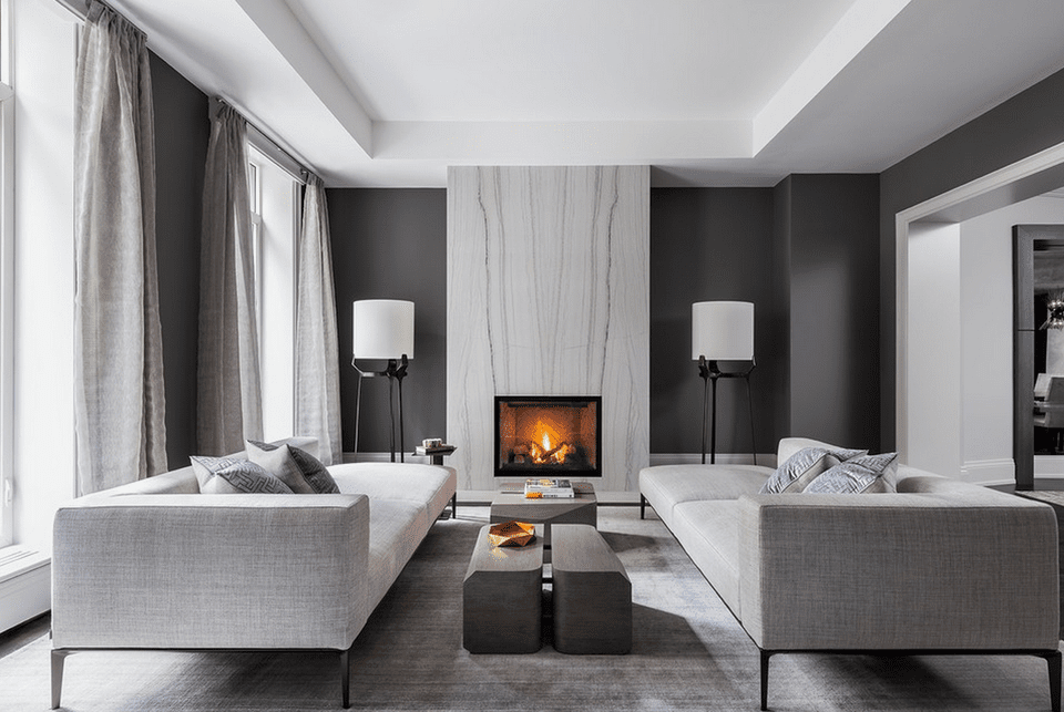 Contemporary black and gray living room