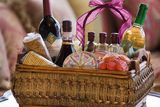 A gift basket filled with cocktail fixings is a great gift for any occasion.