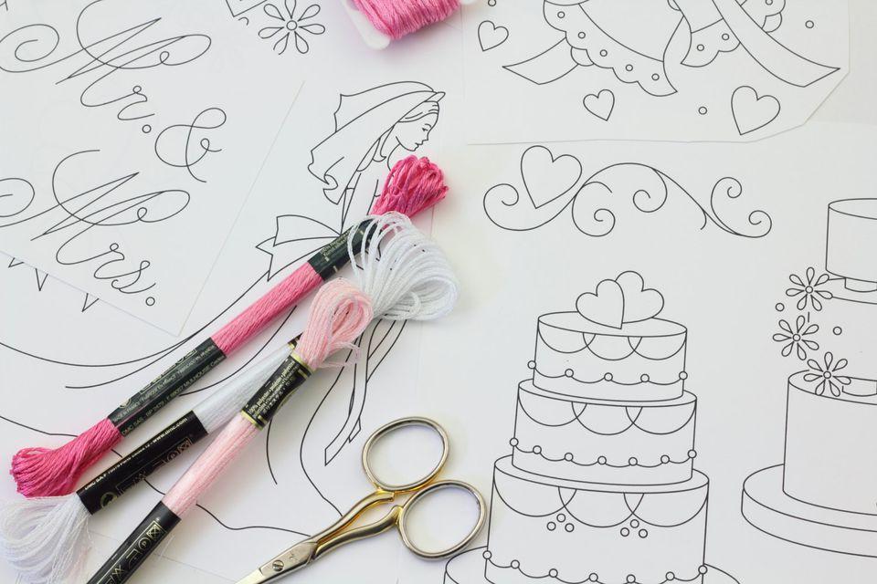 Wedding Hand Embroidery Pattern Set
