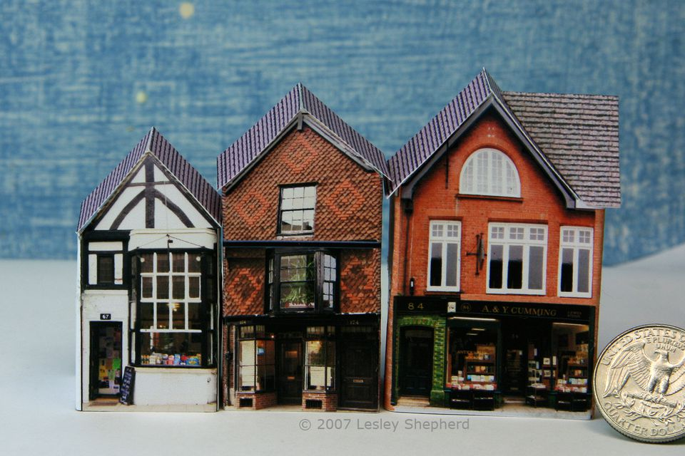 Three Tiny English Village Shops in 1:144 or Micro Scale