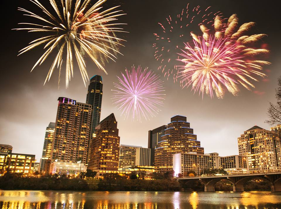 Downtown Austin fireworks