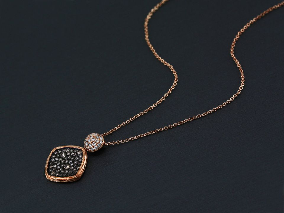 Rose Gold Necklace with champagne diamonds