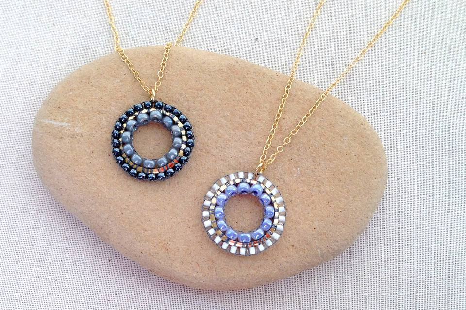 Pendants with brick stitch inside and outside a link