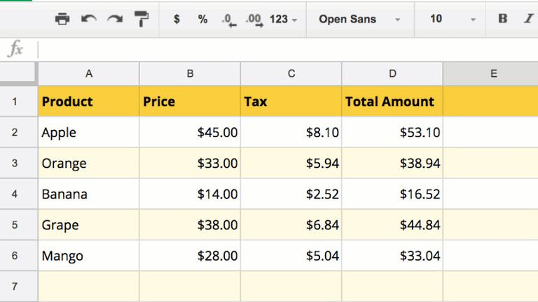 Google sheet with labels