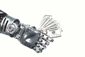 an extended robot hand holding money