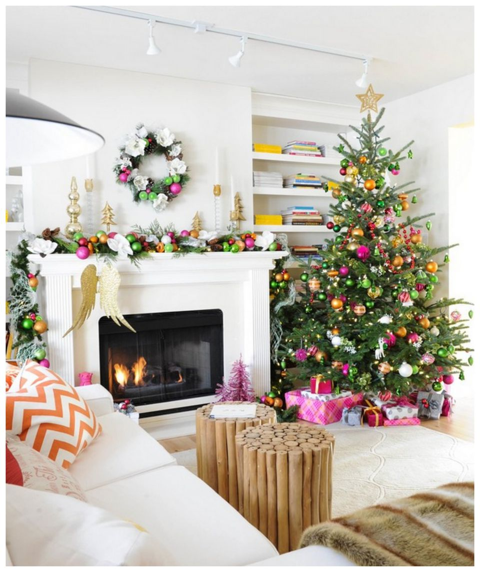 christmas decorations ideas for living room. Playful Holiday Color Palette 15 Beautiful Ways to Decorate the Living Room for Christmas