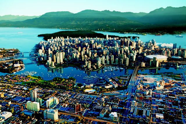 Aerial view of the city of Vancouver, British Columbia