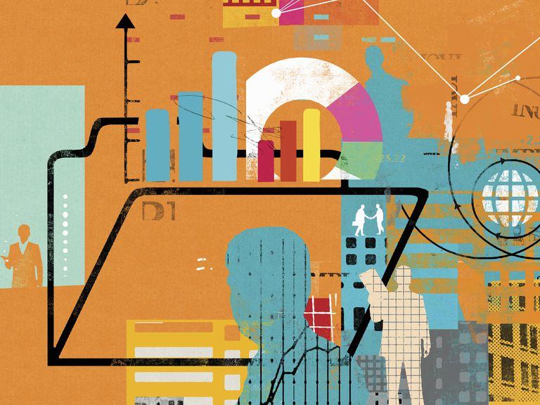 Businessmen, globe, financial data and folder