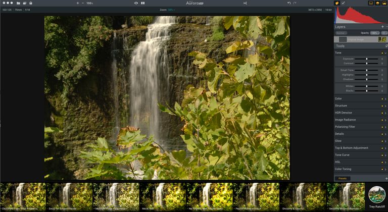 The Aurora HDR 2017 interface is shown as are the Trey Radcliff Presets