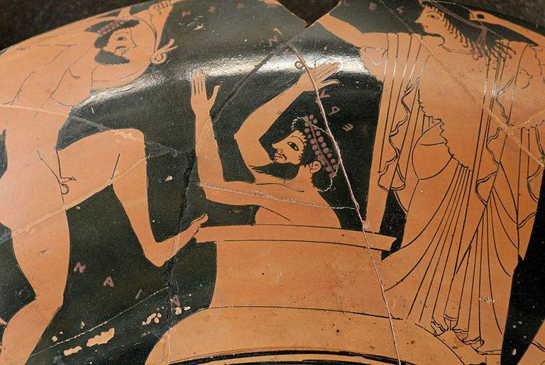 Eurystheus hiding in a jar as Heracles brings him the Erymanthian boar.