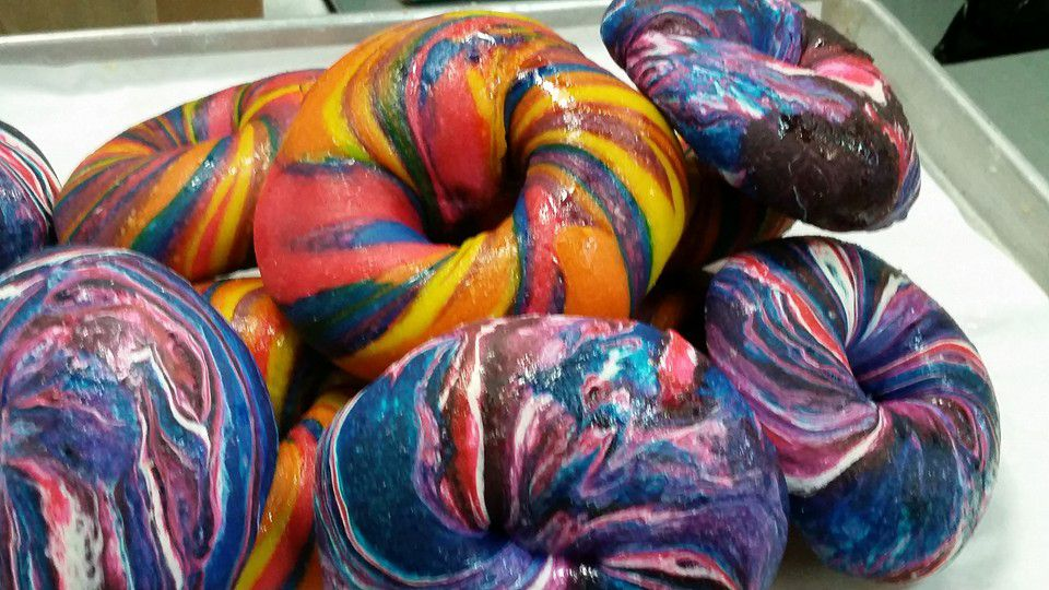 Rainbow Bagels at The Bagel Store