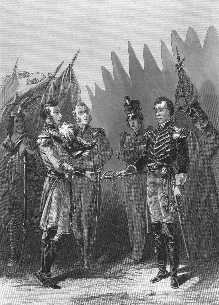 General Hull Surrendering Fort Detroit in August 1812