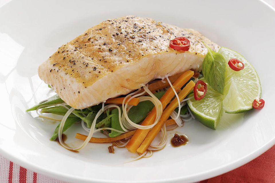 salmon and rice noodle salad