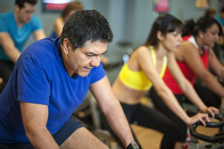 Older man in spin class