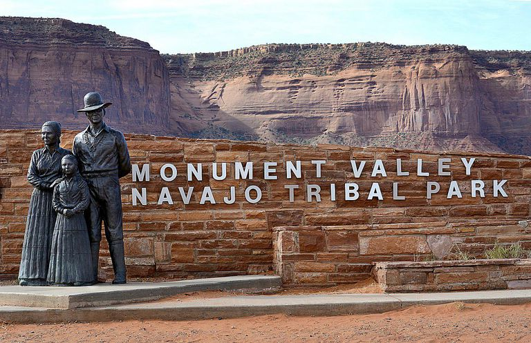 Entrance sign at Monument Valley Navajo Tribal Park in Southeastern Utah