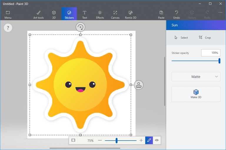 Screenshot showing a Paint 3D sticker of a sun