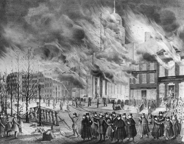 Print of New York City's Great Fire of 1835