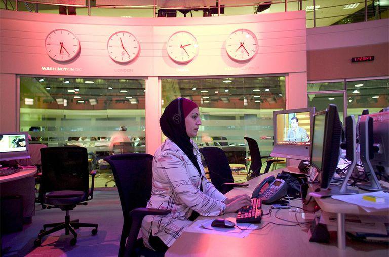 The broadcast room of Al Jazeera English Language Channel, Doha, Qatar.