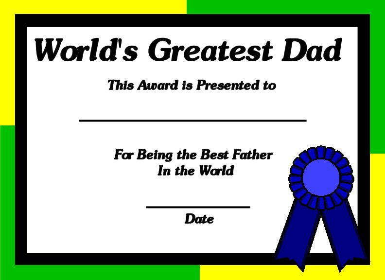 Printable certificates for dads worlds greatest dad certificate yadclub Images
