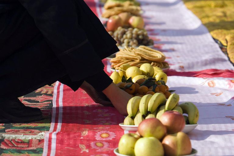 Plates of fruit