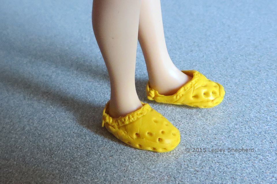 Dollhouse scale 'crocs' style sandals made from Sugru