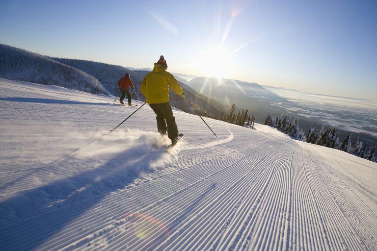 Man skiing on bluebird day in Montana