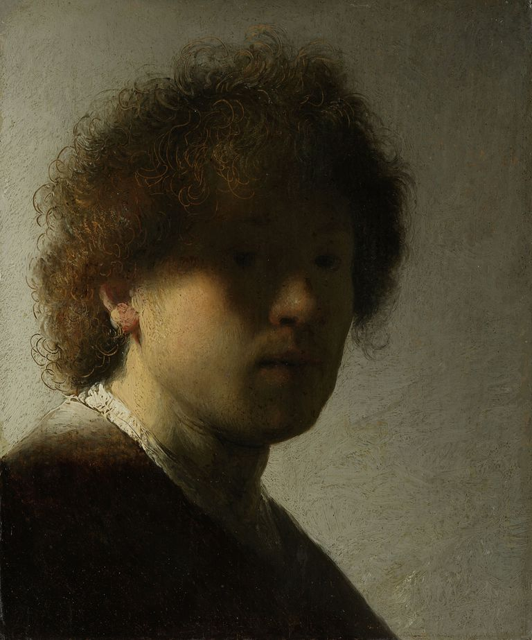Self-portrait painting of Rembrandt as a young man