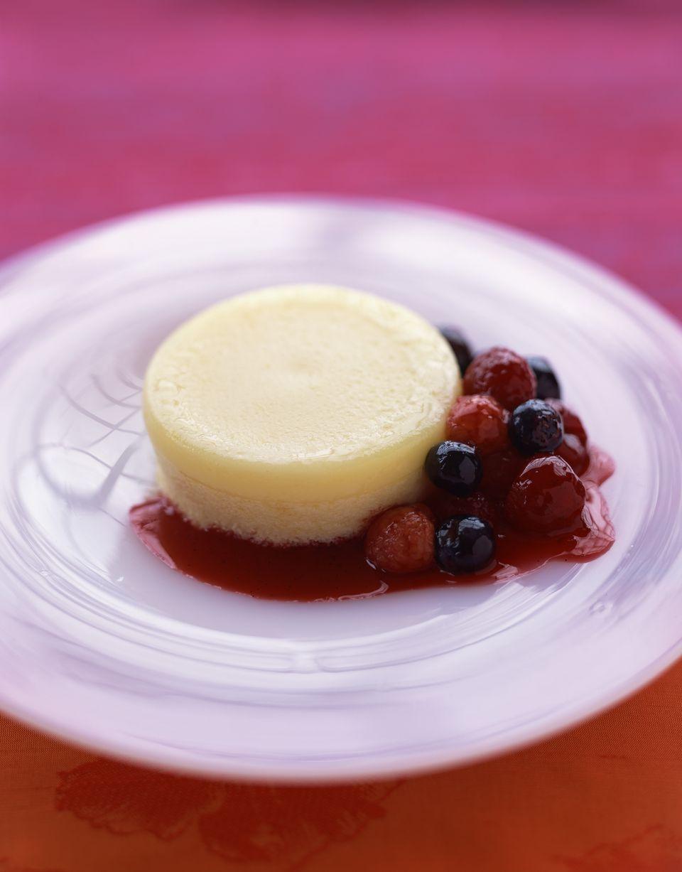 Lemon parfait with berry compote