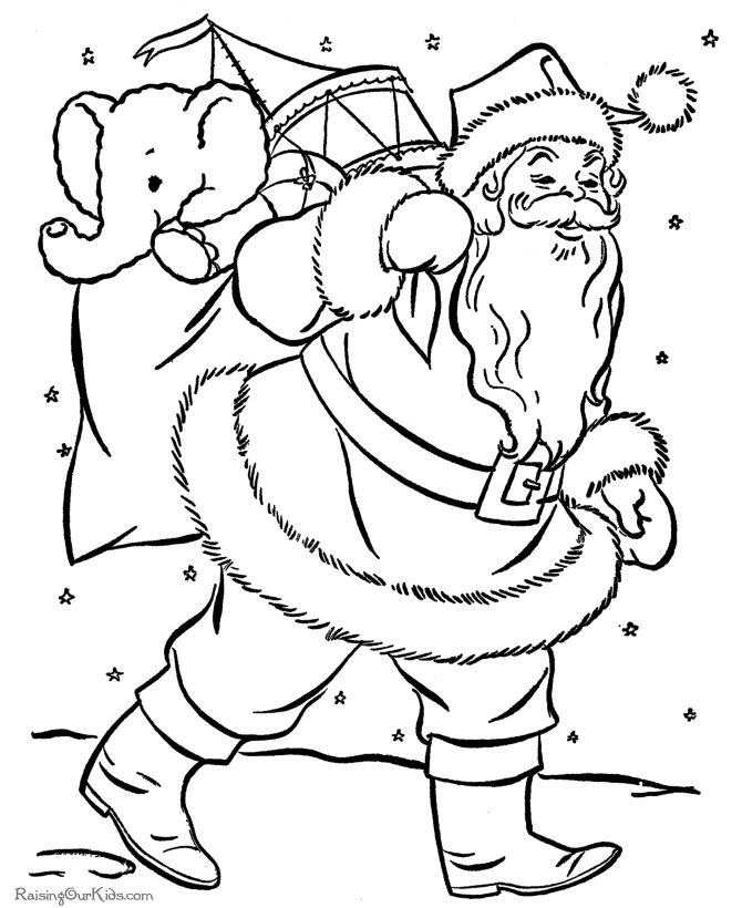 Santa claus with gifts christmas coloring pages