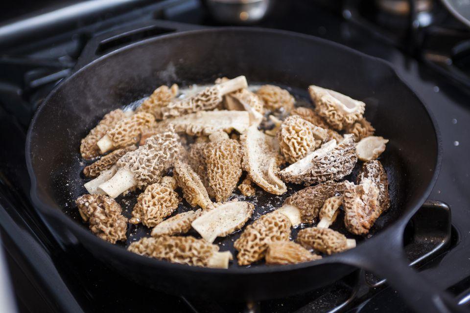 morel mushrooms in a pan