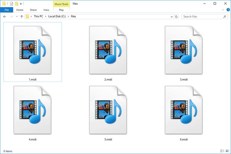 Screenshot of several MIDI files in Windows 10 that open with Windows Media Player