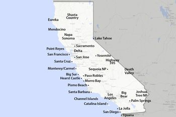 Map Of The California Coast Glorious Miles - Map of ca