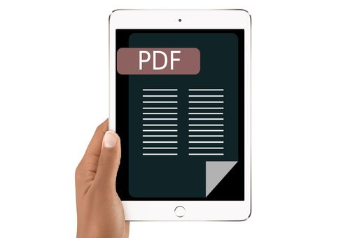 iPad with PDF image on the screen