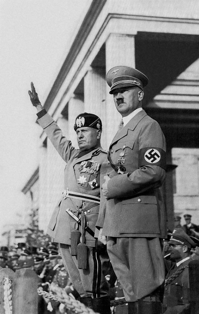 Mussolini and Hitler (Hitler at the front)
