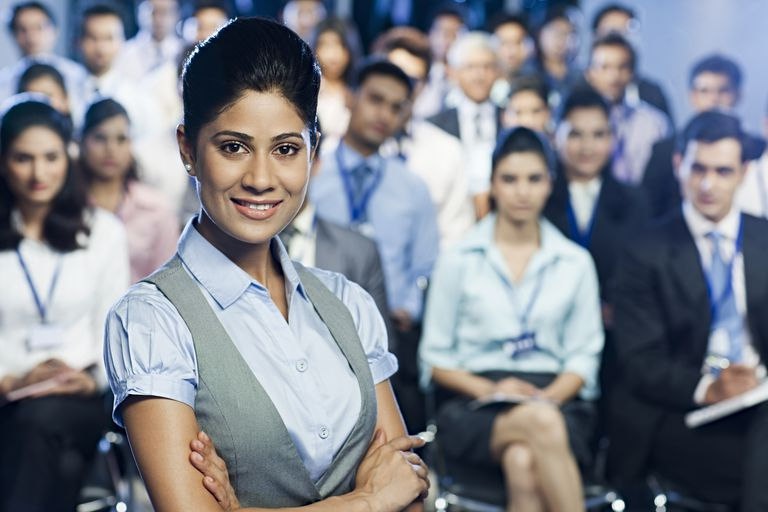 business woman at conference