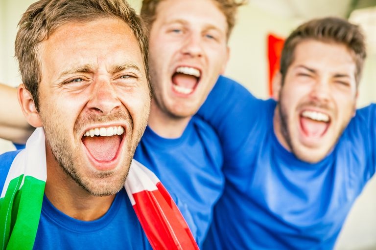 Supporters cheering on Italy at world soccer cup
