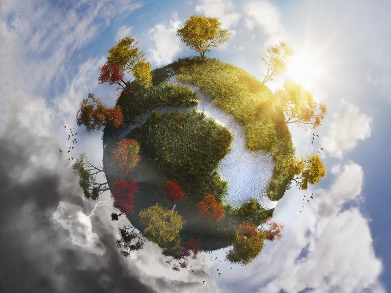Digitally generated image of planet earth with plants