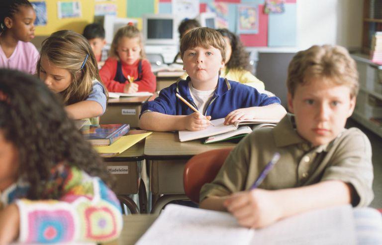 Attentive boy in classroom