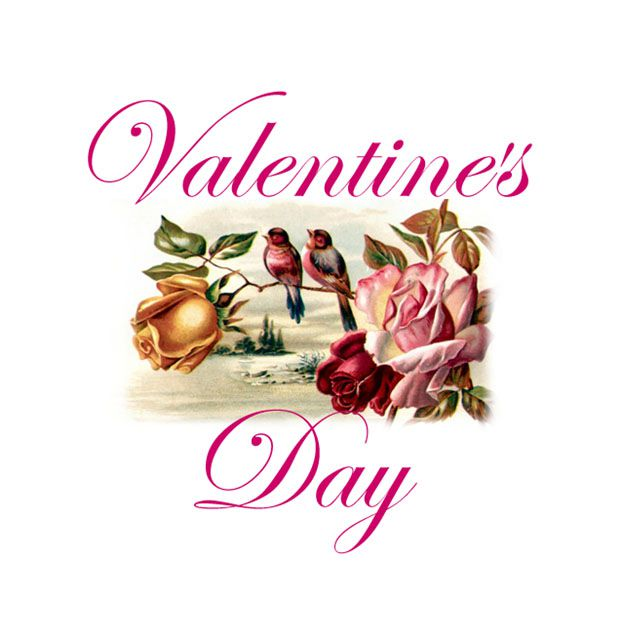 a vintage valentines day image with two birds on a rose - Valentines Pictures Free