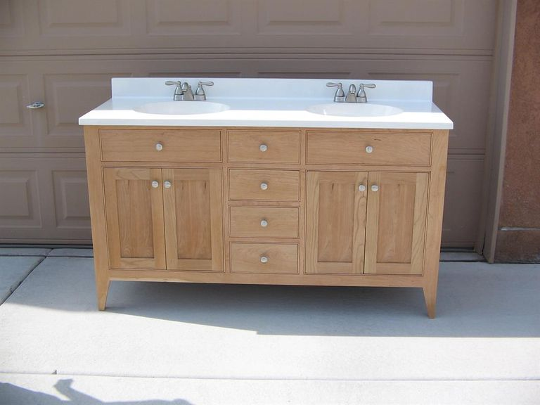 built in bathroom vanity cabinets. A bathroom vanity built out of cherry wood 11 DIY Bathroom Vanity Plans You Can Build Today