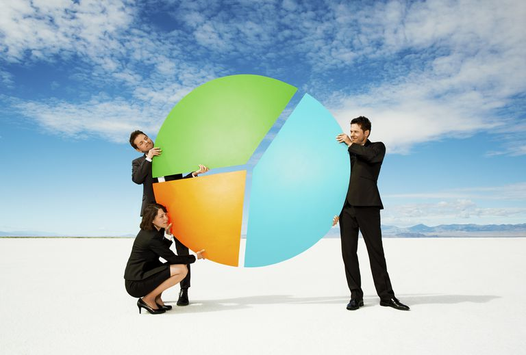 Finance professionals with a pie chart