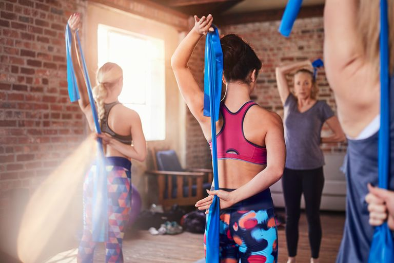 Women using exercise bands in a class