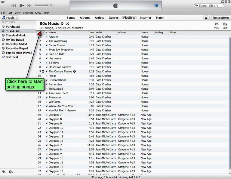 Sorting Songs in an iTunes Playlist