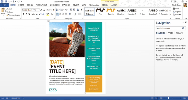how to design a flyer in word